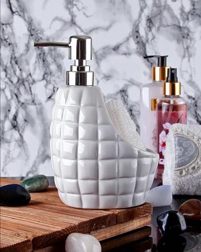 Süngerli Beyaz Sıvı Sabunluk