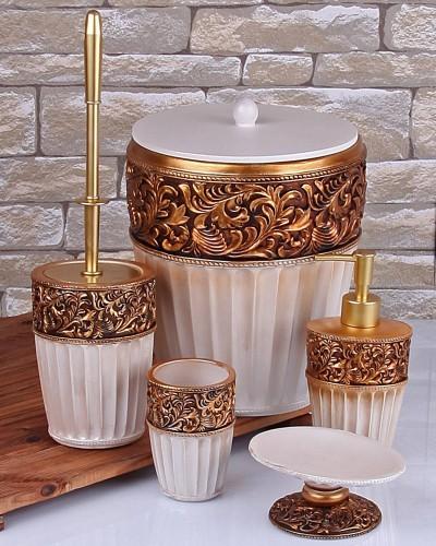 Polyester Altın Sedef Banyo Takımı