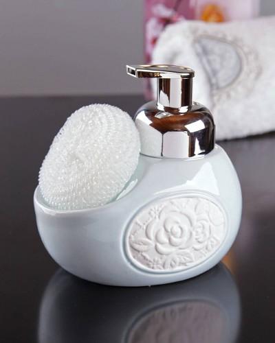 Seramik Gül Kabartmalı Köpük Sıvı Sabunluk