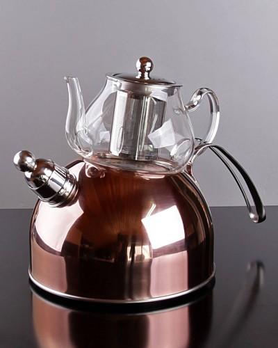 Metal Altlı Cam Çaydanlık