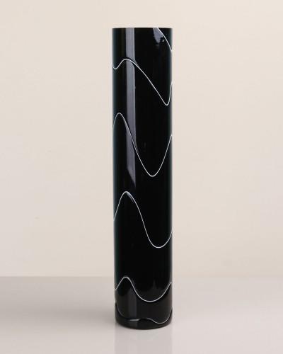 No-5 Siyah Boru Düz Cam Vazo