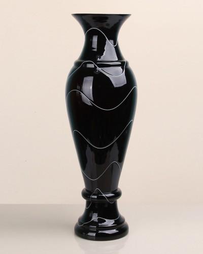 No-18 Siyah Büyük Çizgili Klasik Cam Vazo