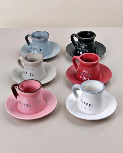 Mat Renkli 6 Lı Kahve Takımı